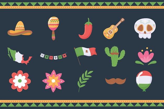 Ensemble d'icônes mexicaines