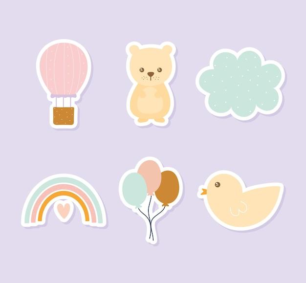 Ensemble d'icônes mignonnes sur fond violet clair