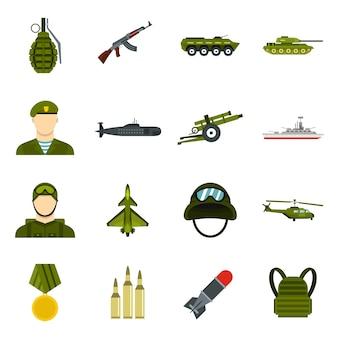 Ensemble d'icônes militaires