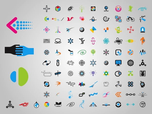 Ensemble d'icônes minimes formes