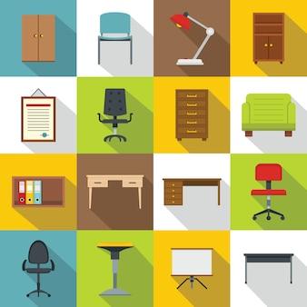 Ensemble d'icônes de mobilier de bureau, style plat