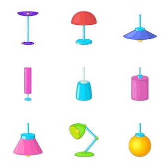 Ensemble d'icônes de mobilier de lampe, style cartoon