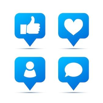 Ensemble d'icônes à la mode bleu vif pour réseau social