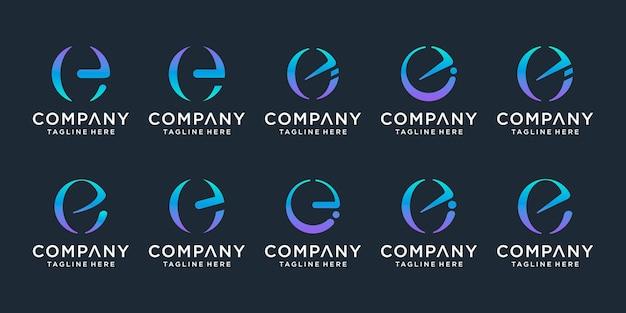 Ensemble d'icônes de modèle de conception de logo créatif lettre e pour les affaires de luxe de la technologie financière