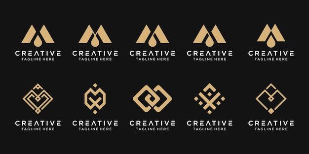 Ensemble d'icônes de modèle de logo abstrait monogramme lettre m pour les entreprises de la technologie numérique de la mode