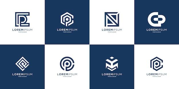 Ensemble d'icônes de modèle de logo monogramme lettre initiale p et lettre c pour les entreprises de luxe élégant simple