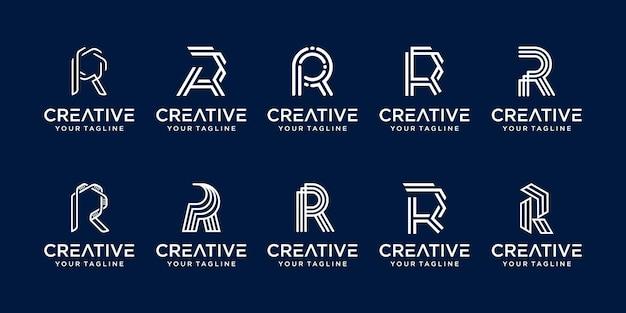 Ensemble d'icônes de modèle de logo monogramme lettre initiale r rr pour entreprise de mode sport numérique