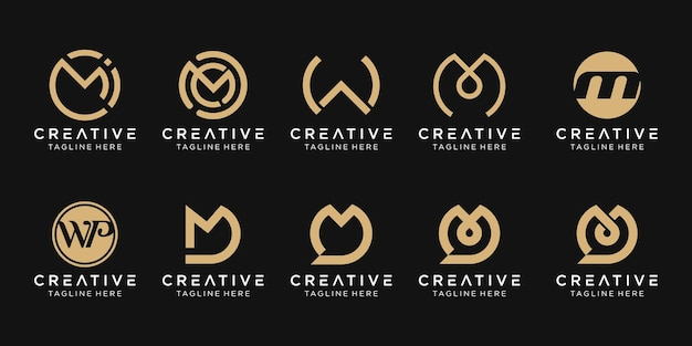 Ensemble d'icônes de modèle de logo mwd lettre monogramme abstrait pour les entreprises de technologie de conversation de mode