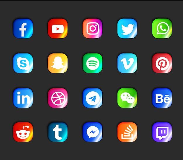 Ensemble d'icônes modernes de médias sociaux