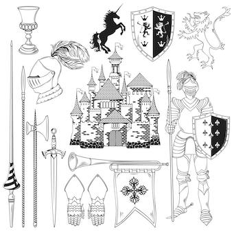 Ensemble d'icônes monochromes de chevalier