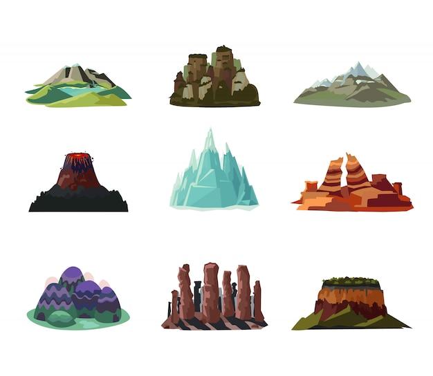 Ensemble d'icônes de montagnes colorées