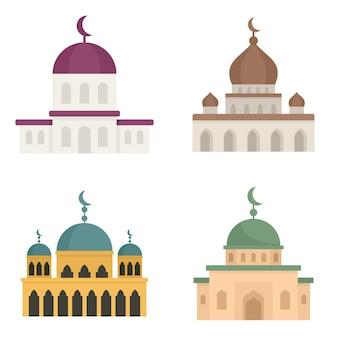 Ensemble d'icônes de mosquée. ensemble plat d'icônes vectorielles mosquée isolé sur fond blanc