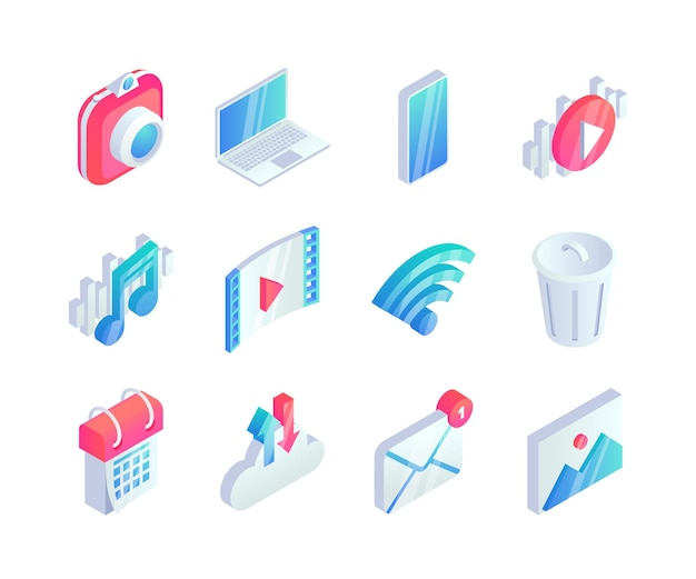 Ensemble d'icônes multimédia isométrique. symboles de concept audio vidéo 3d avec appareil photo, ordinateur portable, téléphone, icônes musicales.