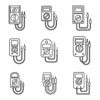 Ensemble d'icônes multimètre électrique