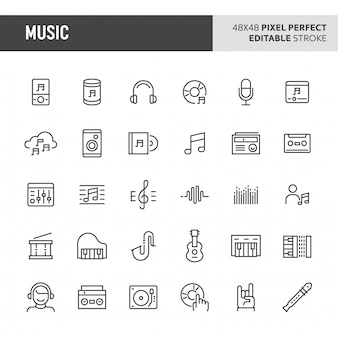 Ensemble d'icônes de musique et instrument