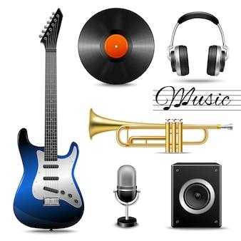 Ensemble d'icônes de musique réalistes