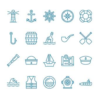 Ensemble d'icônes nautiques