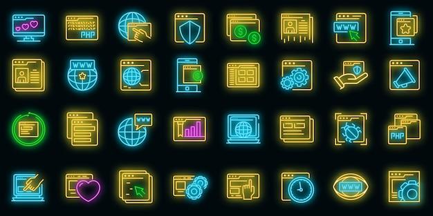 Ensemble d'icônes de navigateur. ensemble de contour d'icônes vectorielles de navigateur couleur néon sur fond noir