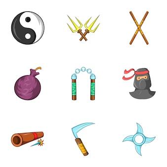Ensemble d'icônes ninja, style cartoon