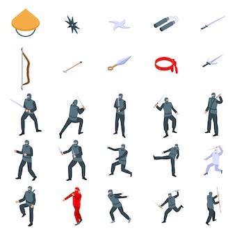 Ensemble d'icônes ninja, style isométrique