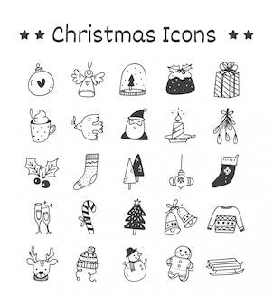 Ensemble d'icônes de noël dans un style doodle