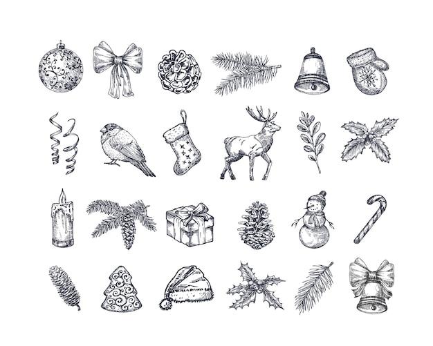 Ensemble d'icônes de noël dessinés à la main.