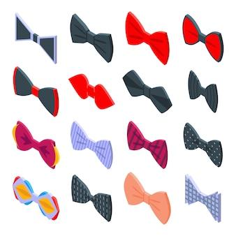 Ensemble d'icônes noeud papillon, style isométrique