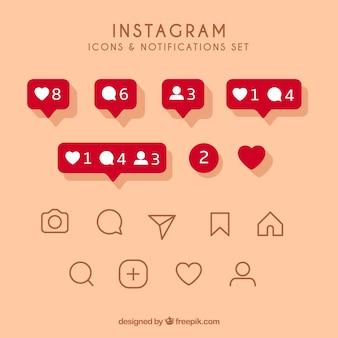 Ensemble d'icônes et de notifications instagram plat