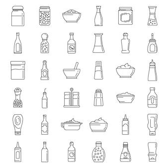 Ensemble d'icônes de nourriture condimentaire