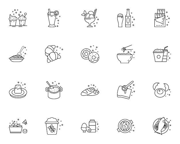 Ensemble d'icônes de nourriture de contour