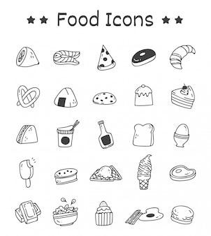 Ensemble d'icônes de nourriture dans un style doodle