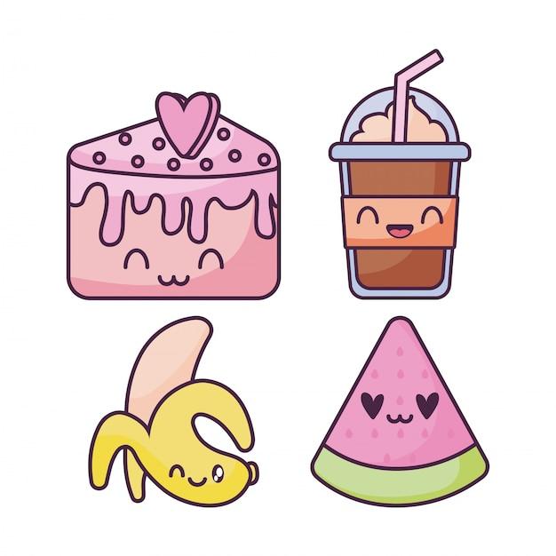 Ensemble d'icônes de nourriture dans un style kawaii