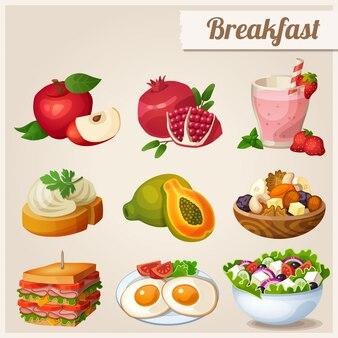 Ensemble d'icônes de nourriture différente. petit déjeuner.