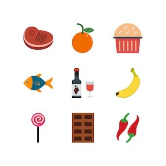 Ensemble d'icônes de nourriture sur fond blanc vector éléments isolés