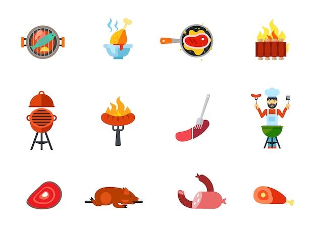Ensemble d'icônes de nourriture frit