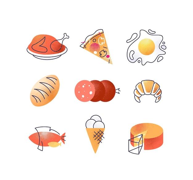 Ensemble d'icônes de nourriture gastronomie