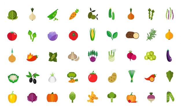 Ensemble d'icônes de nourriture végétalienne