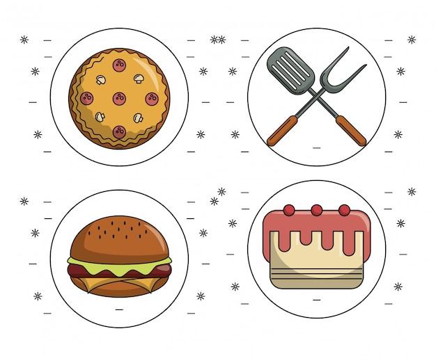 Ensemble d'icônes de nourriture
