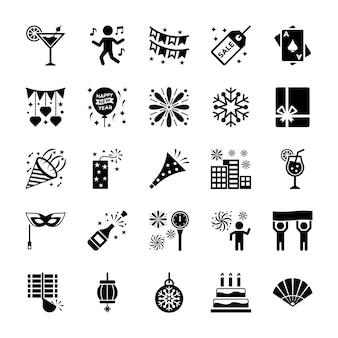 Ensemble d'icônes de nouvel an