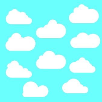 Ensemble d'icônes de nuage dans un style plat branché isolé sur fond bleu. symbole de nuage pour la conception, le logo, l'application, l'interface utilisateur de votre site web. illustration vectorielle.