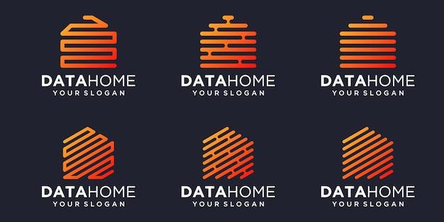 Ensemble d'icônes numériques maison simple, élément combiné maison numérique ou données. modèle de conception de logo