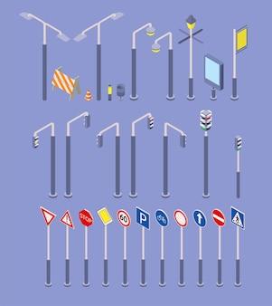 Ensemble d'icônes d'objets de route isométrique