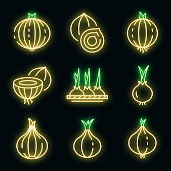 Ensemble d'icônes d'oignon. ensemble de contour d'icônes vectorielles oignon couleur néon sur fond noir