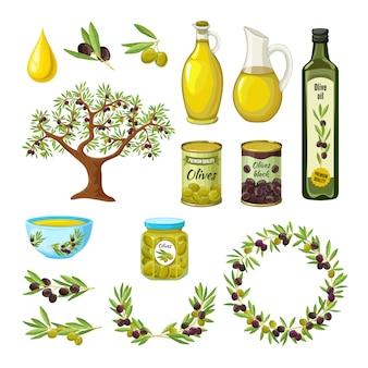 Ensemble d'icônes d'olive