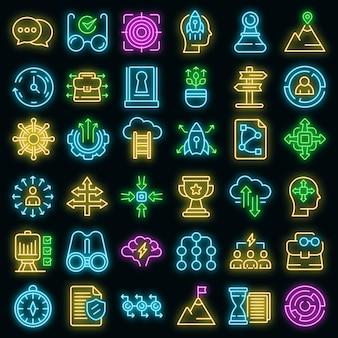Ensemble d'icônes d'opportunité. ensemble de contour d'icônes vectorielles d'opportunité couleur néon sur fond noir