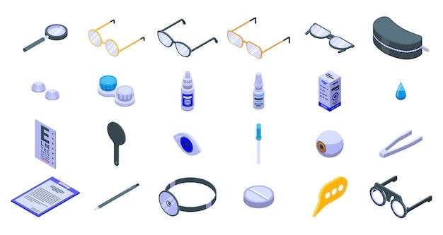Ensemble d'icônes opticien, style isométrique