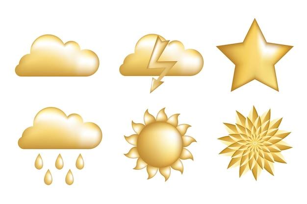 Ensemble d'icônes d'or, isolé sur blanc