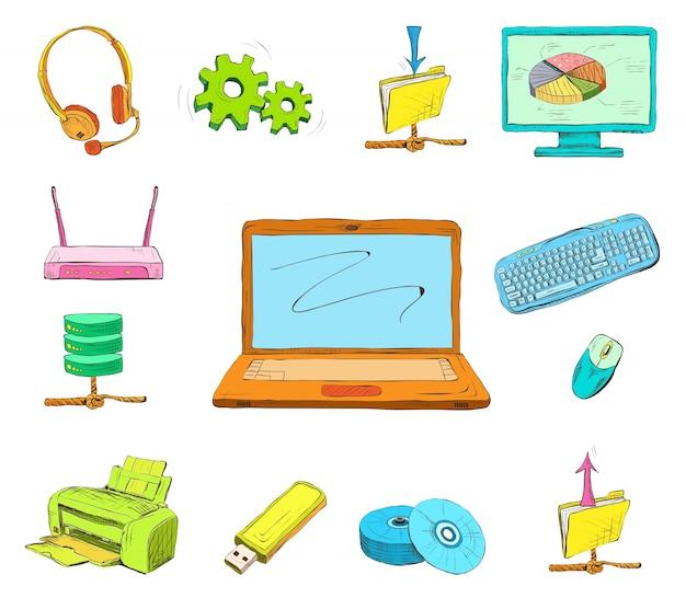 Ensemble d'icônes d'ordinateur professionnel