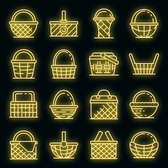 Ensemble d'icônes en osier. ensemble de contour d'icônes vectorielles en osier couleur néon sur fond noir