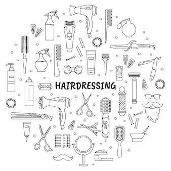 Ensemble d'icônes d'outils de coiffure et de salon de coiffure dans le style doodle